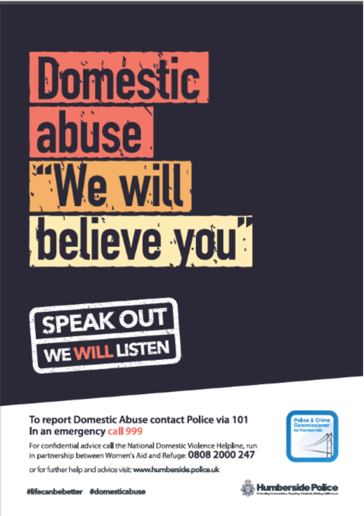 Humberside Police We Will Believe You Domestic Abuse Campaign