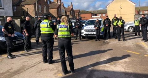 Officers and partners are briefed ahead of operation in Bridlington