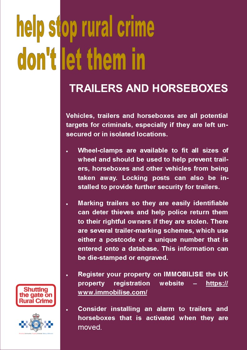 Keep Trailers and Horse Boxes safe